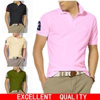Wholesale Men S Big Collar Shirts - Polo Shirt Men Summer Cotton Big Horse Embroidery POLO Shirts Brands Short Sleeve Camisas Polo Stand Collar Male Shirts 6XL