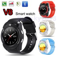 Smart Watch V8 Bluetooth Smartwatch Telefone SIM 0.3M Câmera Ronda Dial Sports Relógios para Android iOS Fitness Tracker Atacado DHL Ship