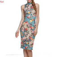 Wholesale Sleeveless Cheongsam - 2016 Hot Women Floral Dresses Vintage Cheongsam Flower Printing Chinese Traditional Dress Sexy Slim Fit Casual Bodycon Dress Qipao SV005832