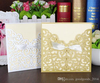 Wholesale Gold Bow Invitation - Lace Ribbon Bow Knot Wedding Invitation Card Vintage Laser Cut Gold Hollow Flowers Blank Inside With Envelope Wedding Invitations Cards b144