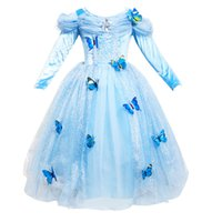 Wholesale full tulle dress online - Students Christmas gift Girls dress Cosplay Princess dresses Long sleeve Butterfly Party birthday gifts Puff sleeve blue Winter