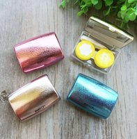 Wholesale Contact Lens Cases Mirrors - Contact Lens Box With Mirror 4 Colors Contact lens case 4 Good Qaulity Kind DHL free shipping