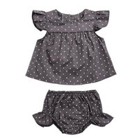 Wholesale Toddlers Polka Dots Dresses - 2pcs Set Baby Girls Toddler Dress Polka Dots Princess Party Pageant Flying Sleeve T-Shirt Tops+Shorts Pants Outfits Ins Boutique Clothing