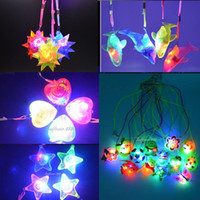 Wholesale Light Up Spiky Balls - 2017 Light Up LED Flashing Spiky Ball Dophin Star Heart Pendant Glow Necklace Gift Rave Party Wedding Halloween Dress Decoration