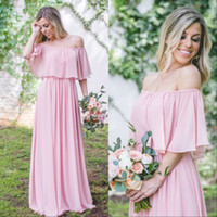 Wholesale Chiffon Shirt Black Shoulder - 2017 Cheap Off Shoulder Pink Bridesmaids Dresses Long A Line Chiffon Boho Beach Maid Of Honor Dress Plus Size Country Wedding Party Gowns