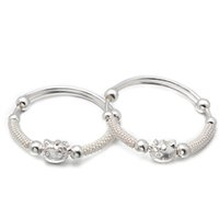 Wholesale Silver Bangles For Children - Latest Design Silk Thread Bangle For Children Gift 925 Sterling Silver Bangle Personality Cat Style BC00333
