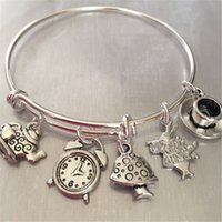 Wholesale Tea Cup Kettle Wholesale - 12pcs Alice in wonderland Bracelet with rabbit clock tea kettle and cup and mushroom charms