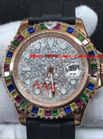 Wholesale rainbow rubber bracelets - Luxury Wristwatch Top Quality Rubber Bracelet 40MM Rainbow Diamond Watch Automatic Men's Watches New Arrival