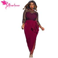 Wholesale Casual Dress For Large Women - Large Size XXXL for Ladies Green Maroon Full Sleeve Autumn Premium Fishnet Curvy Midi Dress Vestidos Big XXL LC60904 17410