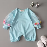 Wholesale Wholesale Leotard Long Sleeves - Boy girl clothing sets newborn romper baby suit Jumpsuits Spring infants children leotard cotton children's baby clothes Romper 1095