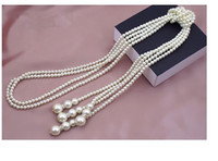 Wholesale Artificial Sweater - White Fashion & Classcial statement layers charms Artificial pearl long necklace chain bijoux necklaces & pendants Long sweater chain