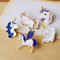 Wholesale Button Pin Badge Brooch - Kawaii Unicorn Pegasus Enamel Pin Badges 5 Options Gold Color Button Pins Fairy Metal Brooch Pin Girls Jeans Accessories Gift for Child nz21