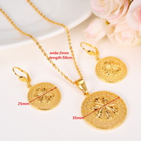 Wholesale Gold 24k Wedding Set - New Fashion Ethiopian Jewelry Set Pendant Necklace & Earring Fashion Circle Design 24k Yellow Solid Fine Gold GF