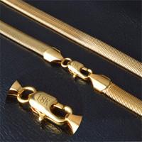 puro colar de ouro china venda por atacado-Colar de ouro Com 18 KStamp Pure Gold Colour Necklace Atacado New Trendy 6 MM 50 CM Cobra Cadeia Colar de Jóias Finas NX178
