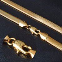 ingrosso collana della catena dell'oro di 18k-Collana in oro con collana di colore oro puro 18KStamp Vendita all'ingrosso di gioielli in argento NX178 fine di tendenza 6 mm 50 cm con catena a catena