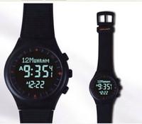 Wholesale Russian Automatic Watches - Wholesale-full black color Azan watch Muslim Azan watch automatic Azan prayer watch Muslim gift Russian hotselling free shipping