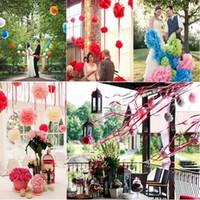 """Wholesale Pompom Paper - Wholesale- 10pcs 4"""" =10cm decorative Tissue Paper Pom Poms Mix Color Flower Balls Pompom for Wedding party home Decoration"""