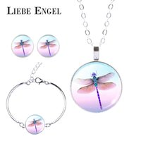 Wholesale Dragonflies Earring - LIEBE ENGEL New Fashion Lifelike Dragonfly Crystal Pendant Necklace Silver Chain Bracelet Cabochon Stud Earrings Women Jewelry