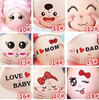 Wholesale Photos Paintings Free - Wholesale- Free shipping For pregnant women therapy maternity photo props Pregnancy photographs belly painting photo stickers 22 style