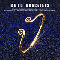 Wholesale Chinese Gold Plated Bangles - New Woman 18K Gold Plated Copper Open-end Bracelet A Chinese Odyssey Inhibiting Magic Phrase Cuff Bangle Romantic Xmas Gift for Girlfriend