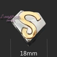 Wholesale Superman Bracelets - High quality flower Superman W238 18mm 20mm rhinestone metal button for snap button Bracelet Necklace Jewelry For Women Silver jewelry