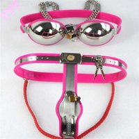 Wholesale erotic sex cosplay online - Female chastity belt strap on chastity device fetish cosplay erotic toys sex shop bondage Stainless steel Bra