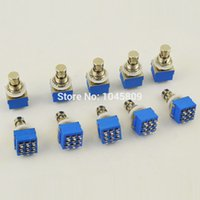 Wholesale Stomp Pedal Switch - wholesale 10 pcs Lot 9-pin 3PDT Guitar Effects Pedal Box Stomp Foot Metal Switch True Bypass free shipping