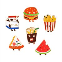 Wholesale Wholesale Frying Oil - Alloy Oil Dripping Brooch French Fries Hamburger Pizza Cola Milk Watermelon Badge Fashion Enamel Pin Delicate Small Gift 1 6zb F R