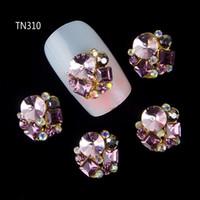 Wholesale Nails Gliter - Wholesale- 10Pcs New 2015 Gliter Pearl with Rhinestones,3D Metal Alloy Nail Art Decoration Charms Studs,Nails 3d Jewelry TN310
