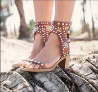 ingrosso scarpe con tacco in legno-Celebrity Roma Vintage Décolleté Casual Scarpe a spillo tempestato di legno Block Heel Sandels Rivet Crystal Open Toe Sandali gladiatore Donna