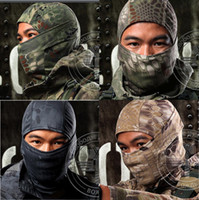 Wholesale multicam camouflage - Multicam Sports Camo Balaclava Airsoft Hunting Outdoor Camouflage Army Cycling Motorcycle Cap Hats Full Face Mask