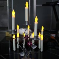 Wholesale 10pcs Yellow Flickering Battery Operated Flameless LED Taper Dinner Candle for Wedding Christmas Halloween Party Decoration