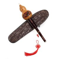 Wholesale Gourd Instruments - Wholesale- Chinese Hulusi Gourd Cucurbit Flute Bb Tone Yunnan Ethnic Instruments With Case Open Holes Traditional Instrument