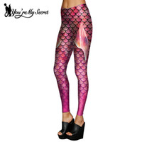 escalas secretas al por mayor-Venta al por mayor- [You're My Secret] Colorfull pescado Simulación Simulación Mermaid Leggings Mujer 3D Leggins Impresión Digital Fitness Legging Summer Girls