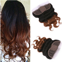 ingrosso frontale medio pizzo-Two Tone 1B / 30 Medium Auburn Ombre Silk Base 13x4 Full Lace Frontal Body Wave Brasiliana Capelli umani Top in pizzo frontale in pizzo
