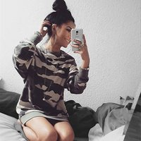 Wholesale Ladies Warm Shirts - Wholesale- Womens Lady Loose Army Sweatshirt Pullover Jumpers Tops Shirts hoodies women hoody 2016 warm clothes