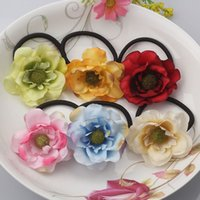 Al por mayor-Girl Big Flower Elástico Bandas de goma Princesa Diadema Daisy Hair Accesorio Bloom Bebé Scrunchy Niños Floral Ponytail Holder