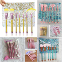 Wholesale professional styling brushes - 7 Styles Glitter Crystal Makeup Brush Set 7pcs Set Diamond Brush Professional Highlighter Brushes Concealer Make Up Brush Tool kits with Bag