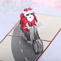 origami para aniversário venda por atacado-50 pcs santa motocicleta origami 3d pop up cartões de convite cartão de casamento de natal festa de aniversário presente frete grátis