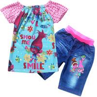 Wholesale Demin Shorts Girls - 2017 Trolls Poppy Dot Short T-shirt Demin Pants 2Pieces Outfits Set Girls Summer Suits Children Clothing Set 2Colors