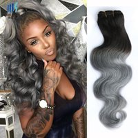 Wholesale virgin grey hair extensions for sale - Group buy 4 Bundles T B Dark Grey Ombre Human Hair Bundles Two Tone Colored Peruvian Body Wave Virgin Brazilian Malaysian Indian Hair Extensions