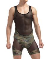 ingrosso pantaloncini trasparenti maschili-Intimo di nylon Mens biancheria intima sexy trasparente Vedere attraverso patchwork Camouflage Boxer maschio Pantaloncini Bodysuits Gay lingerie sexy