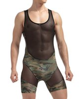 Wholesale Camouflage Sexy Underwear - Nylon sheer Mens sexy Underwear Transparent See through Camouflage patchwork Male Boxer shorts Bodysuits Gay sexy lingerie