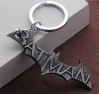 batman anahtarlık toptan satış-Ücretsiz Shippin Superhero Batman Logosu Anahtarlık Kolye Anahtarlık Sıcak Comic Batman Superman Hayranları Için Hayvan Yarasa Charms Anahtarlık Halka Tutucu