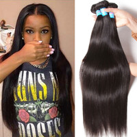 Long Straight Brazilian Virgin Hair Wefts 8-26inch Unprocessed Brazilian Straight Hair Bundles Dyeable Cheap Human Hair Weaves pode ser enrolado
