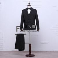 Wholesale Renaissance Pants Men - Hot Sale Black Long Sleeves Wedding Stage Performance Men's Suit Medieval Renaissance Chinese tunic Suit & Blazer Costumes S-2XL