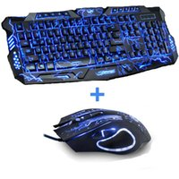 Novo vermelho / roxo / azul Led Backlight USB Wired Laptop PC Pro Gaming Teclado Combo de mouse para LOL Dota 2 Gamer Teclado Mouse Combo