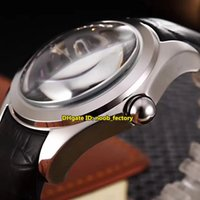 Wholesale Round Convex Mirrors - Luxury Brand High Quality Bubble Skeleton Automatic Mechanical Men's Watch Convex mirror Black Hollow Dial Leather Strap Gents Watches CO34