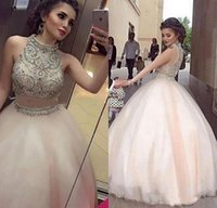 Wholesale Mermaid Satin Ball Gown - Luxury Beaded Two Piece Long Ball Gowns Prom Dresses 2017 High Neck Sleeveless Floor Length Formal Evening Celebrity Party Dress