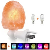 farbwechsel kristall großhandel-Mini Himalaya Salz Wandlampe Handgeschnitzte natürliche Salzkristallfelsen Lichter mit Glühbirne LED Farbwechsel Birne für Luftreiniger
